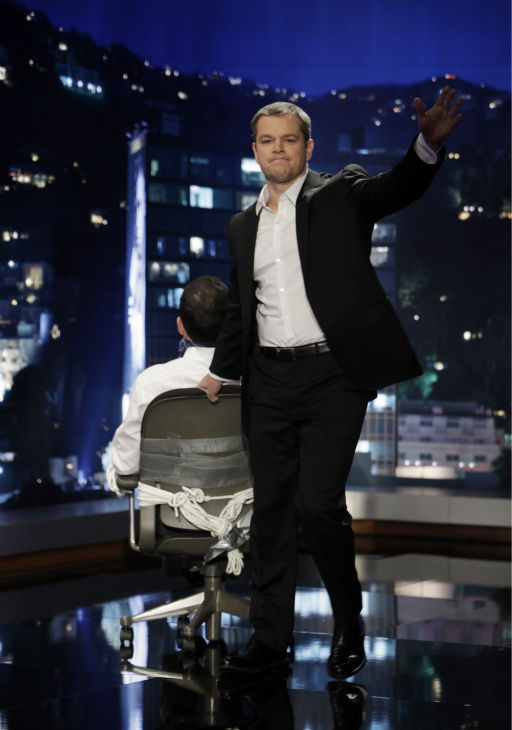"<div class=""meta ""><span class=""caption-text "">Matt Damon hijacked 'Jimmy Kimmel Live' on Jan. 24, 2013. Stars such as Demi Moore, Reese Witherspoon, Ben Affleck, Andy Garcia, Amy Adams, Jimmy Kimmel's ex Sarah Silverman and a very naughty Nicole Kidman and Robin Williams joined the fun. See photos. (ABC Photo / Randy Holmes)</span></div>"