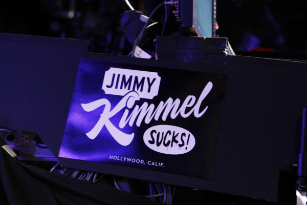 The set of 'Jimmy Kimmel Live!,' renamed 'Jimmy Kimmel Sucks,' after Matt Damon hijacked the show on Jan. 24, 2013.
