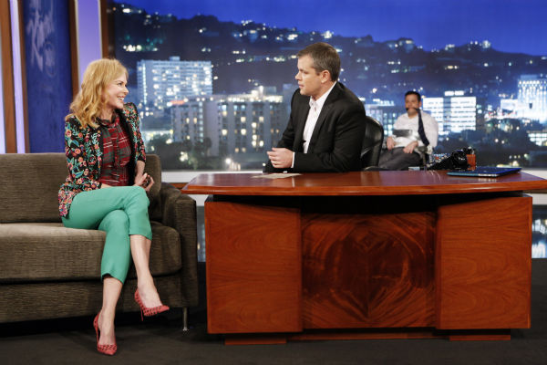 Matt Damon interviews Nicole Kidman on ABC's 'Jimmy Kimmel Live!,' renamed 'Jimmy Kimmel Sucks,' after the actor hijacked the show on Jan. 24, 2013.
