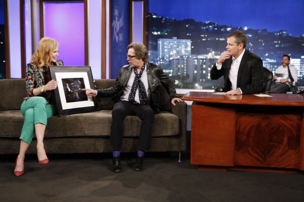 "<div class=""meta ""><span class=""caption-text "">Matt Damon interviews Nicole Kidman and Gary Oldman on ABC's 'Jimmy Kimmel Live!,' renamed 'Jimmy Kimmel Sucks,' after Damon hijacked the show on Jan. 24, 2013. (ABC Photo / Randy Holmes)</span></div>"