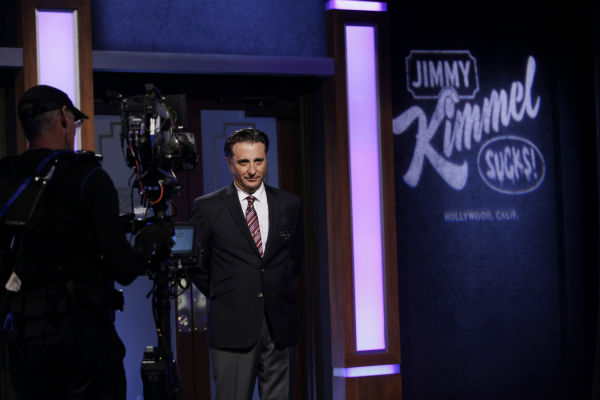 Andy Garcia appears on a Matt Damon-hijacked episode of ABC's 'Jimmy Kimmel Live!,' renamed 'Jimmy Kimmel Sucks,' on Jan. 24, 2013.