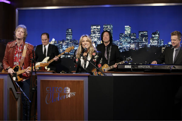 Sheryl Crow appears on a Matt Damon-hijacked episode of ABC's 'Jimmy Kimmel Live!,' renamed 'Jimmy Kimmel Sucks,' on Jan. 24, 2013.