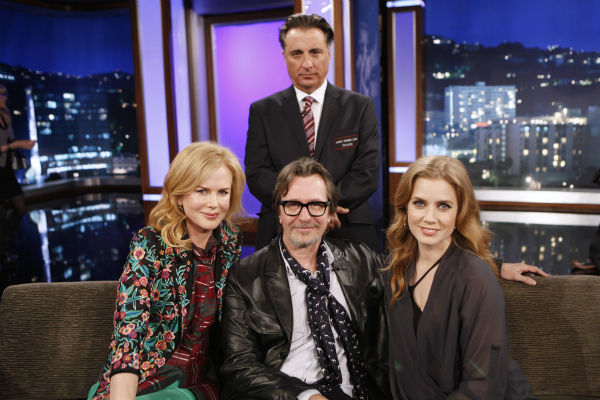 "<div class=""meta ""><span class=""caption-text "">Andy Garcia, Nicole Kidman, Gary Oldman and Amy Adams appear on a Matt Damon-hijacked episode of ABC's 'Jimmy Kimmel Live!,' renamed 'Jimmy Kimmel Sucks,' on Jan. 24, 2013. (ABC Photo / Randy Holmes)</span></div>"