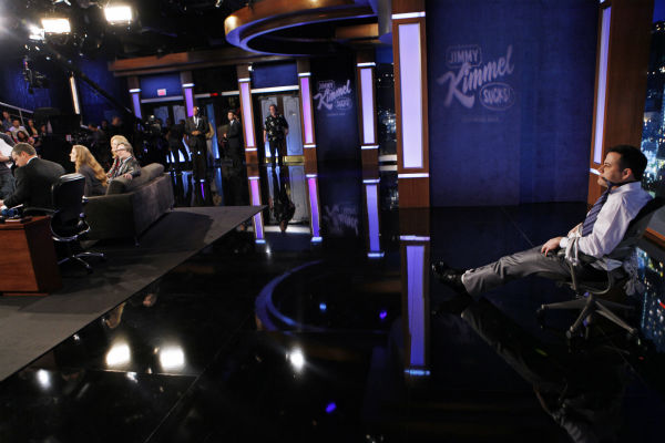 Jimmy Kimmel appears on a Matt Damon-hijacked episode of ABC&#39;s &#39;Jimmy Kimmel Live!,&#39; renamed &#39;Jimmy Kimmel Sucks,&#39; on Jan. 24, 2013. <span class=meta>(ABC Photo &#47; Randy Holmes)</span>