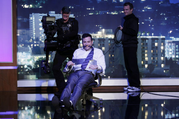 immy Kimmel appears on a Matt Damon-hijacked episode of ABC&#39;s &#39;Jimmy Kimmel Live!,&#39; renamed &#39;Jimmy Kimmel Sucks,&#39; on Jan. 24, 2013. <span class=meta>(ABC Photo &#47; Randy Holmes)</span>