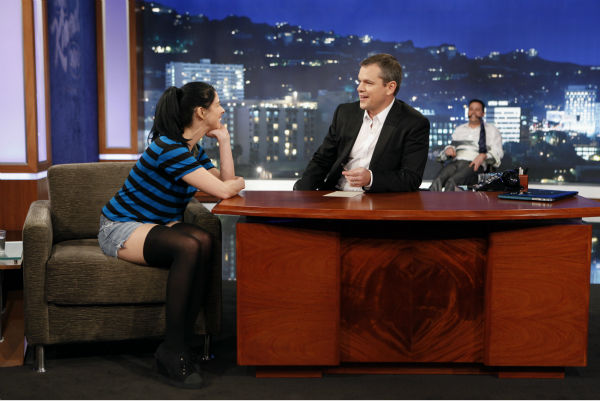 Matt Damon interviews Jimmy Kimmel&#39;s ex-girlfriend and co-star of the viral video &#39;I&#39;m [Expletive] Matt Damon&#39; on ABC&#39;s &#39;Jimmy Kimmel Live!,&#39; renamed &#39;Jimmy Kimmel Sucks,&#39; after Damon hijacked the show on Jan. 24, 2013. <span class=meta>(ABC Photo &#47; Randy Holmes)</span>