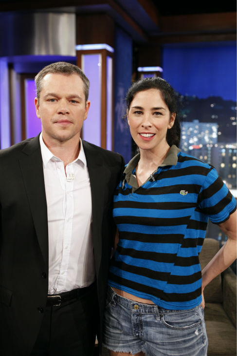 Matt Damon and Sarah Silverman appear on ABC's 'Jimmy Kimmel Live!,' renamed 'Jimmy Kimmel Sucks,' after the actor hijacked the show on Jan. 24, 2013.