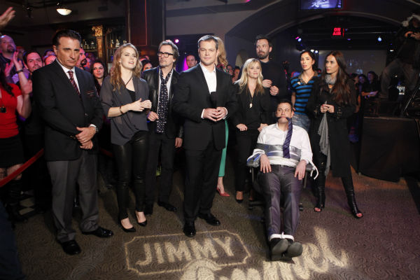 L to R: Andy Garcia, Amy Adams, Gary Oldman, Matt Damon, Reese Witherspoon, Ben Affleck, Sarah Silverman, Demi Moore and Jimmy Kimmel appear on ABC's 'Jimmy Kimmel Live!,' renamed 'Jimmy Kimmel Sucks,' after Damon hijacked the show on Jan. 24, 2013.