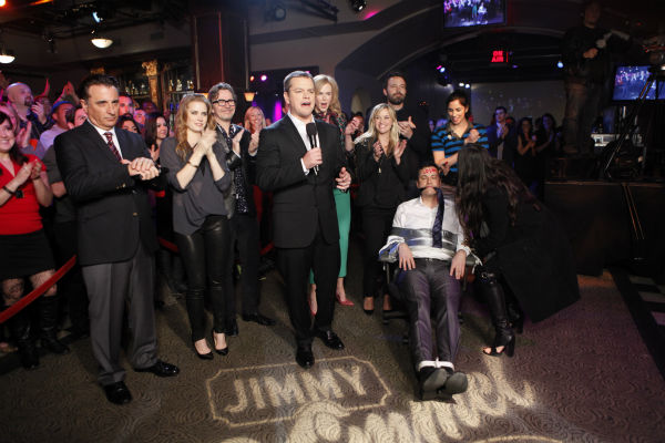 L to R: Andy Garcia, Amy Adams, Gary Oldman, Matt Damon, Reese Witherspoon, Ben Affleck, Sarah Silverman, Demi Moore and Jimmy Kimmel appear on ABC&#39;s &#39;Jimmy Kimmel Live!,&#39; renamed &#39;Jimmy Kimmel Sucks,&#39; after Damon hijacked the show on Jan. 24, 2013. <span class=meta>(ABC Photo &#47; Randy Holmes)</span>