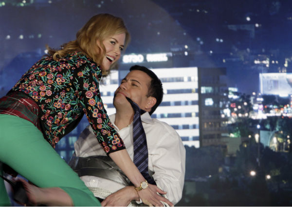 Nicole Kidman gives Jimmy Kimmel a lap dance on a Matt-Damon-hijacked episode of ABC's 'Jimmy Kimmel Live!,' renamed 'Jimmy Kimmel Sucks,' on Jan. 24, 2013.