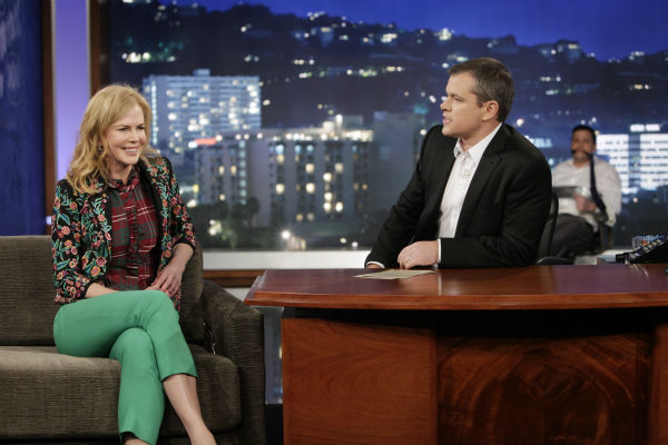 Matt Damon interviews Nicole Kidman on ABC's 'Jimmy Kimmel Live!,' renamed 'Jimmy Kimmel Sucks,' after Damon hijacked the show on Jan. 24, 2013.