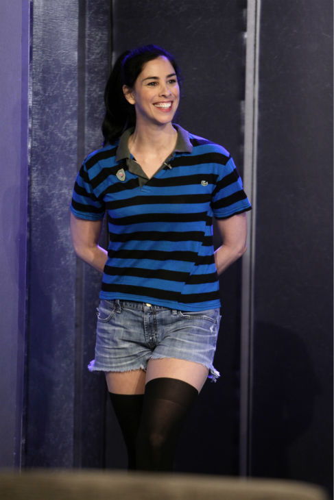 Sarah Silverman appears on a Matt Damon-hijacked episode of ABC's 'Jimmy Kimmel Live!,' renamed 'Jimmy Kimmel Sucks,' on Jan. 24, 2013.