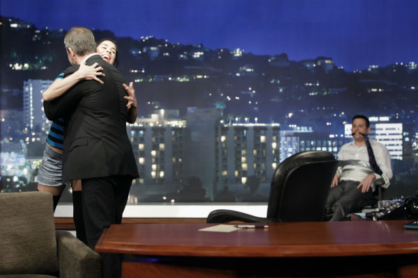 Matt Damon hugs Sarah Silverman as Jimmy Kimmel looks on on ABC's 'Jimmy Kimmel Live!,' renamed 'Jimmy Kimmel Sucks' after Damon hijacked the show on Jan. 24, 2013.