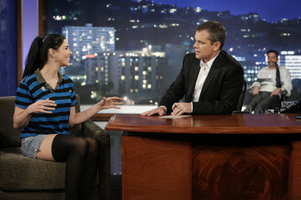Matt Damon interviews Jimmy Kimmel's ex-girlfriend and co-star of the viral video 'I'm [Expletive] Matt Damon' on ABC's 'Jimmy Kimmel Live!,' renamed 'Jimmy Kimmel Sucks,' after Damon hijacked the show on Jan. 24, 2013.