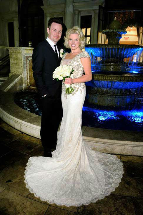 "<div class=""meta ""><span class=""caption-text "">Megan Hilty appears at her wedding to boyfriend Brian Gallagher in Las Vegas on Nov. 2, 2013. Hilty wore a Badgley Mischka dress, while the groom appeared in J Linderberg.  (Michael Simon/startraksphoto.com)</span></div>"