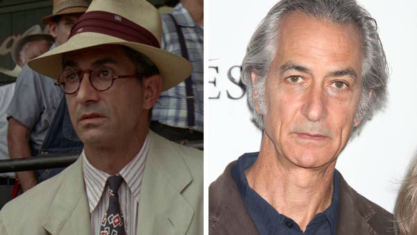 Left -- David Strathairn appears in a still from 'A League of Their Own.' Right -- David Strathairn appears at the photo call with the cast of Broadway's 'The Heiress' in New York City on Sept. 13, 2012.