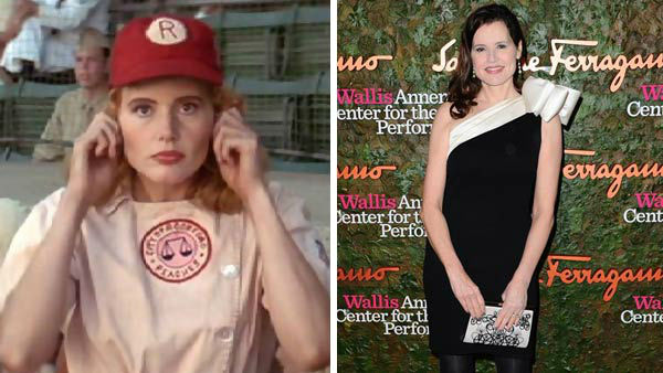 Left -- Genna Davis appears in a still from 'A League of Their Own.' Right -- Geena Davis appears at the Wallis Annenberg Center For The Performing Arts Inaugural Gala in Los Angeles, California on Oct. 17, 2013.