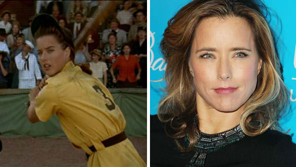Tea Leoni had a minor role in &#39;A League of Their Own&#39; as rival team The Racine&#39;s first base player.   Leoni went onto star on the television series &#39;The Naked Truth&#39; as well as the films &#39;The Family Man,&#39; &#39;Jurassic Park III,&#39; &#39;Fun With Dick and Jane&#39; and &#39;Spanglish.&#39;  &#40;Pictured: Left -- Tea Leoni appears in a still from &#39;A League of Their Own.&#39; Right -- Tea Leoni appears at the 8th annual UNICEF Snowflake Ball in New York City on Nov. 27, 2012.&#41;   <span class=meta>(Columbia Pictures &#47; Amanda Schwab &#47; startraksphoto.com)</span>