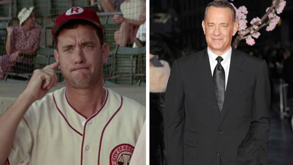 Left -- Tom Hanks appears in a still from A League of Their Own. Right -- Tom Hanks appears at the premiere of Saving Mr. Banks at the 57th annual BFI London Film Festival on Oct. 20, 2013.