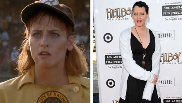 Left -- Lori Petty appears in a still from 'A League of Their Own.' Right -- Lori Petty appears at the premiere of 'Hellboy 2: The Golden Army' in Los Angeles, California on June 28, 2008.