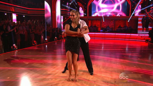 "<div class=""meta ""><span class=""caption-text "">Elizabeth Berkley and Val Chmerkovskiy appear during the dance off on week eight of 'Dancing With The Stars' on Nov. 4, 2013. (ABC Photo)</span></div>"