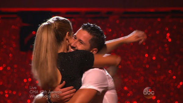 Elizabeth Berkley and Val Chmerkovskiy react to being safe on week eight of &#39;Dancing With The Stars&#39; on Nov. 4, 2013. They received 25 out of 30 points from the judges for their Jazz routine. <span class=meta>(ABC Photo)</span>