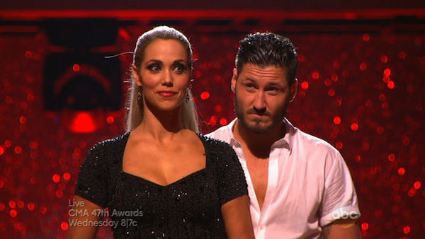 Elizabeth Berkley and Val Chmerkovskiy await their fate on week eight of &#39;Dancing With The Stars&#39; on Nov. 4, 2013. They received 25 out of 30 points from the judges for their Jazz routine.  <span class=meta>(ABC Photo)</span>