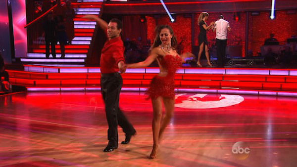 "<div class=""meta ""><span class=""caption-text "">Corbin Bleu and Karina Smirnoff appear during the dance off on week eight of 'Dancing With The Stars' on Nov. 4, 2013. (ABC Photo)</span></div>"