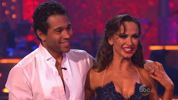 "<div class=""meta ""><span class=""caption-text "">Corbin Bleu and Karina Smirnoff danced the Argentine Tango on week eight of 'Dancing With The Stars' on Nov. 4, 2013. They received 27 out of 30 points from the judges. The two received 3 extra points from the dance off. (ABC Photo)</span></div>"