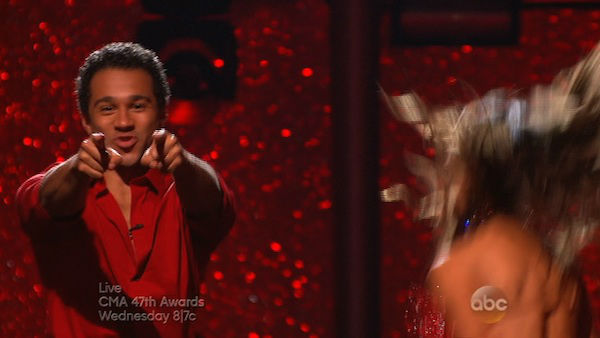 "<div class=""meta image-caption""><div class=""origin-logo origin-image ""><span></span></div><span class=""caption-text"">Corbin Bleu and Karina Smirnoff react to being safe on week eight of 'Dancing With The Stars' on Nov. 4, 2013. They received 27 out of 30 points from the judges for their Argentine Tango. The two received 3 extra points from the dance off. (ABC Photo)</span></div>"