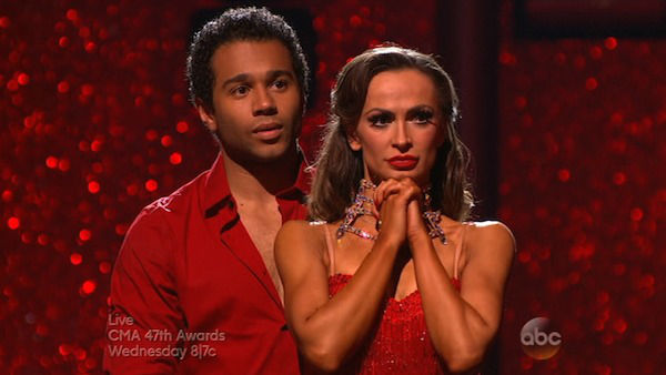 "<div class=""meta image-caption""><div class=""origin-logo origin-image ""><span></span></div><span class=""caption-text"">Corbin Bleu and Karina Smirnoff await their fate on week eight of 'Dancing With The Stars' on Nov. 4, 2013. They received 27 out of 30 points from the judges for their Argentine Tango. The two received 3 extra points from the dance off. (ABC Photo)</span></div>"