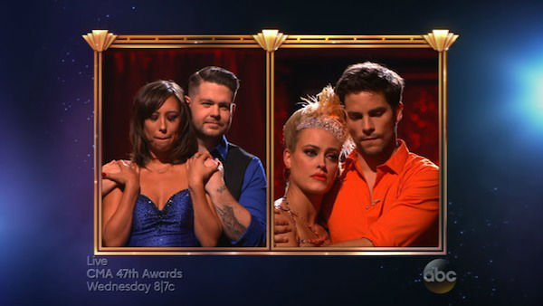 "<div class=""meta ""><span class=""caption-text "">Jack Osbourne, Cheryl Burke, Brant Daugherty and Peta Murgatroyd await their fate on week eight of 'Dancing With The Stars' on Nov. 4, 2013. (ABC Photo)</span></div>"