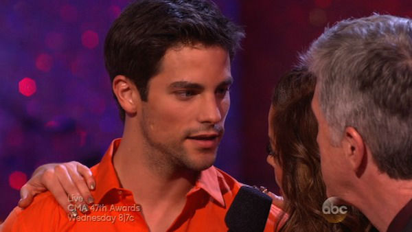 Brant Daugherty and Peta Murgatroyd react to being eliminated on week eight of &#39;Dancing With The Stars&#39; on Nov. 4, 2013. They received 27 out of 30 points from the judges for their Foxtrot.  <span class=meta>(ABC Photo)</span>