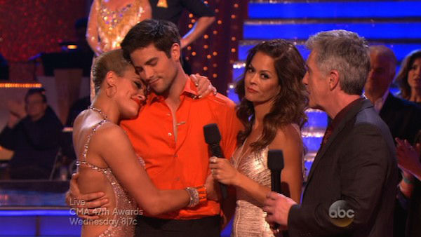 "<div class=""meta ""><span class=""caption-text "">Brant Daugherty and Peta Murgatroyd react to being eliminated on week eight of 'Dancing With The Stars' on Nov. 4, 2013. They received 27 out of 30 points from the judges for their Foxtrot.  (ABC Photo)</span></div>"