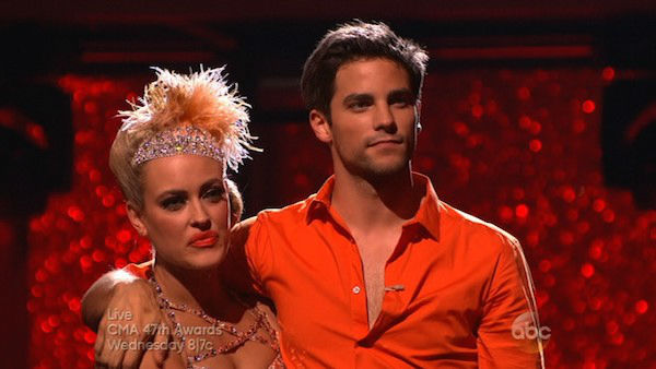 "<div class=""meta ""><span class=""caption-text "">Brant Daugherty and Peta Murgatroyd await their fate on week eight of 'Dancing With The Stars' on Nov. 4, 2013. They received 27 out of 30 points from the judges for their Foxtrot. (ABC Photo)</span></div>"