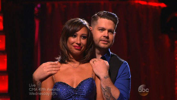 "<div class=""meta image-caption""><div class=""origin-logo origin-image ""><span></span></div><span class=""caption-text"">Jack Osbourne and Cheryl Burke await their fate on week eight of 'Dancing With The Stars' on Nov. 4, 2013. They received 27 out of 30 points from the judges for their Tango. The two received 30 out of 30 extra points from the team dance. (ABC Photo)</span></div>"