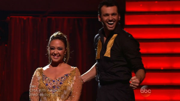 Leah Remini and Tony Dovolani react to being safe on week eight of &#39;Dancing With The Stars&#39; on Nov. 4, 2013. They received 25 out of 30 points from the judges for their Viennese Waltz. The two received 3 extra points from the dance off. <span class=meta>(ABC Photo)</span>