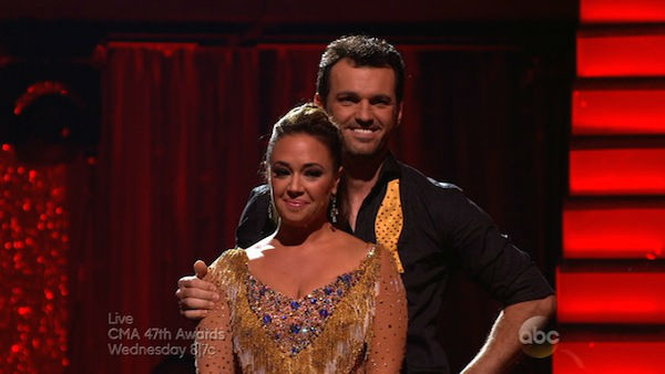 Leah Remini and Tony Dovolani await their fate on week eight of &#39;Dancing With The Stars&#39; on Nov. 4, 2013. They received 25 out of 30 points from the judges for their Viennese Waltz. The two received 3 extra points from the dance off. <span class=meta>(ABC Photo)</span>