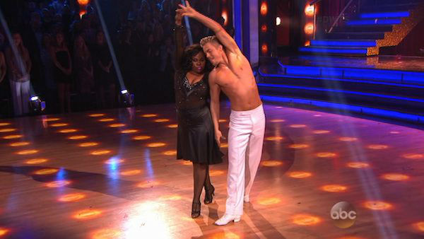 Amber Riley and Derek Hough dance the Rumba on week eight of &#39;Dancing With The Stars&#39; on Nov. 4, 2013. They received 28 out of 30 points from the judges.  <span class=meta>(ABC Photo)</span>