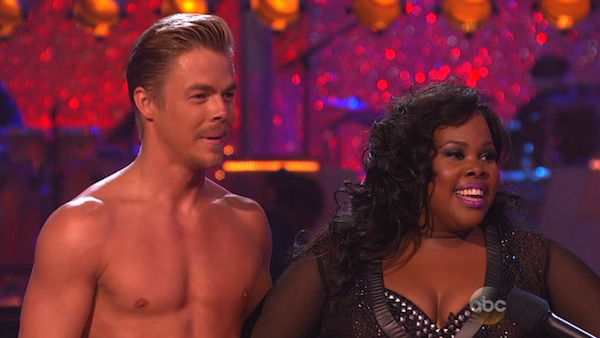 "<div class=""meta ""><span class=""caption-text "">Amber Riley and Derek Hough danced the Rumba on week eight of 'Dancing With The Stars' on Nov. 4, 2013. They received 28 out of 30 points from the judges.  (ABC Photo)</span></div>"