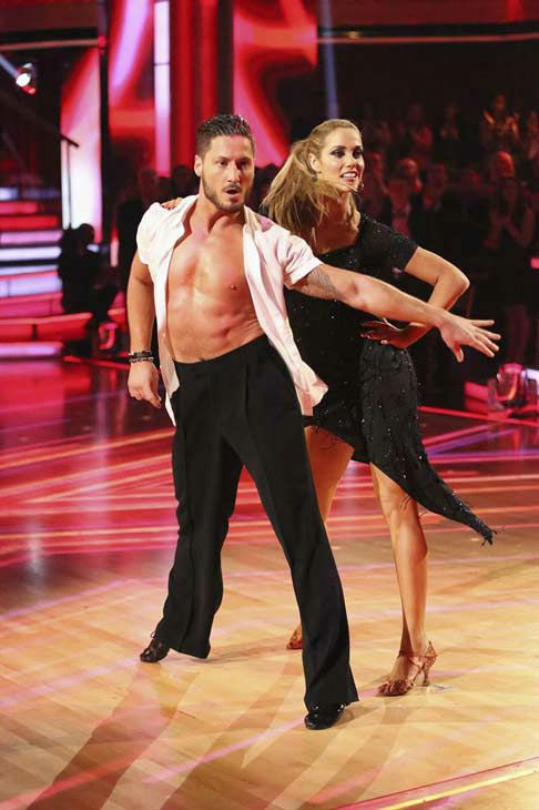 "<div class=""meta ""><span class=""caption-text "">Elizabeth Berkley and Val Chmerkovskiy appear during the dance off on week eight of 'Dancing With The Stars' on Nov. 4, 2013. (ABC Photo/ Adam Taylor)</span></div>"