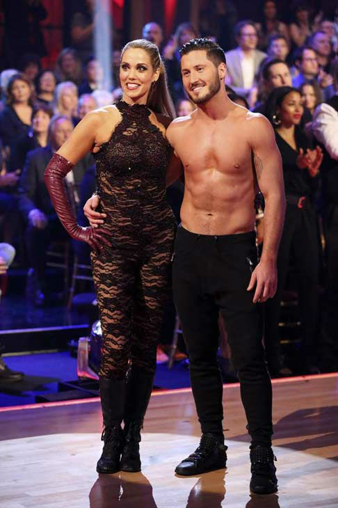 Elizabeth Berkley and Val Chmerkovskiy appear in a still from 'Dancing With The Stars' on Nov. 4, 2013.