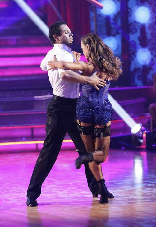 "<div class=""meta ""><span class=""caption-text "">Corbin Bleu and Karina Smirnoff dance the Argentine Tango on week eight of 'Dancing With The Stars' on Nov. 4, 2013. They received 27 out of 30 points from the judges. The two received 3 extra points from the dance off. (ABC Photo/ Adam Taylor)</span></div>"
