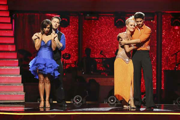 "<div class=""meta ""><span class=""caption-text "">Jack Osbourne, Cheryl Burke, Brant Daugherty and Peta Murgatroyd await their fate on week eight of 'Dancing With The Stars' on Nov. 4, 2013.  (ABC Photo/ Adam Taylor)</span></div>"