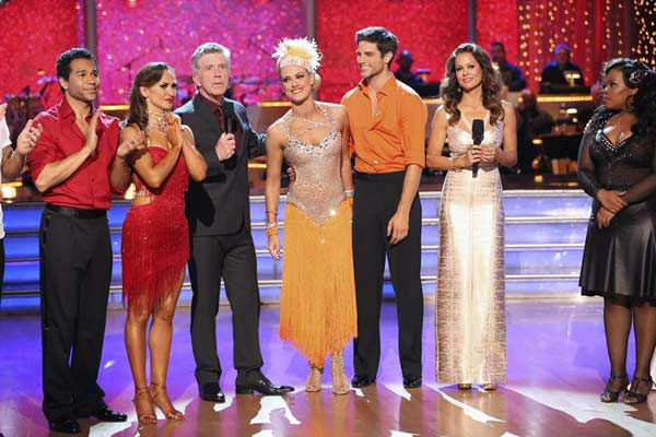 Brant Daugherty and Peta Murgatroyd react to being eliminated on week eight of 'Dancing With The Stars' on Nov. 4, 2013.