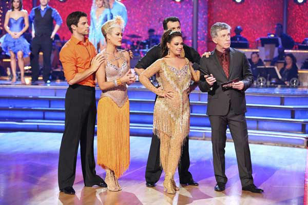 Brant Daugherty, Peta Murgatroyd, Leah Remini and Tony Dovolani appear during the dance off on week eight of &#39;Dancing With The Stars&#39; on Nov. 4, 2013. <span class=meta>(ABC Photo&#47; Adam Taylor)</span>