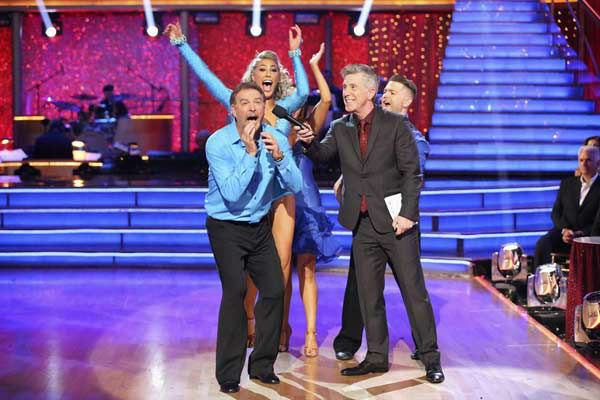 "<div class=""meta image-caption""><div class=""origin-logo origin-image ""><span></span></div><span class=""caption-text"">Bill Engvall and Emma Slater react to being safe on week eight of 'Dancing With The Stars' on Nov. 4, 2013. They received 23 out of 30 points from the judges for their Disco routine.  (ABC Photo/ Adam Taylor)</span></div>"