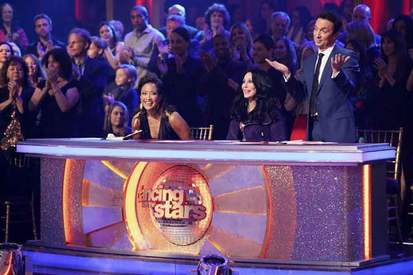 "<div class=""meta ""><span class=""caption-text "">Carrie Ann Inaba, Cher and Bruno Tonioli appear on week eight of 'Dancing With The Stars' on Nov. 4, 2013. (ABC Photo/ Adam Taylor)</span></div>"
