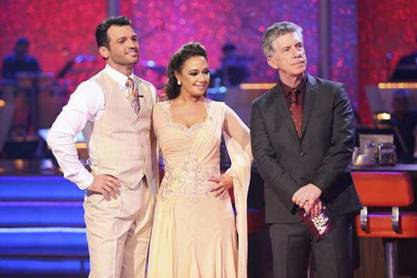 "<div class=""meta ""><span class=""caption-text "">Leah Remini and Tony Dovolani danced the Viennese Waltz on week eight of 'Dancing With The Stars' on Nov. 4, 2013. They received 25 out of 30 points from the judges. The two received 3 extra points from the dance off. (ABC Photo/ Adam Taylor)</span></div>"