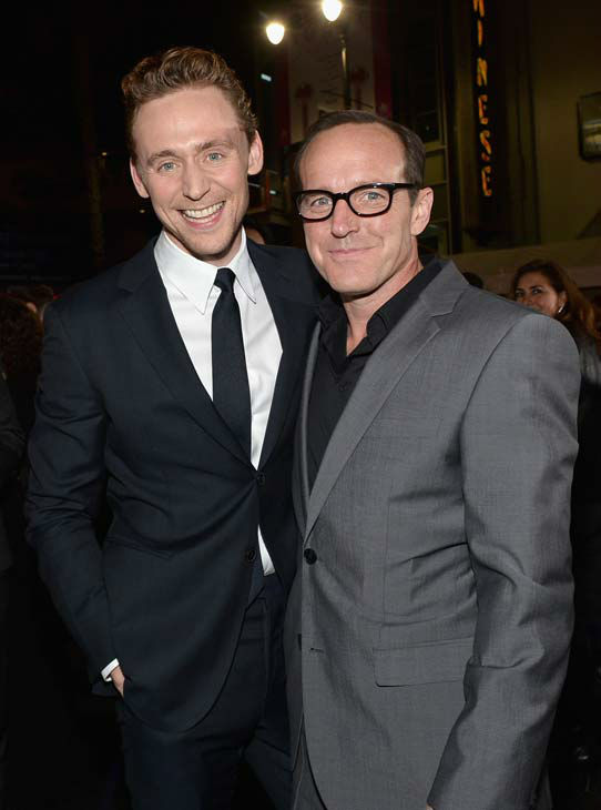 Tom Hiddleston and Clark Gregg appear at the 'Thor: The Dark World' premiere in Los Angeles, California on Nov. 4, 2013.